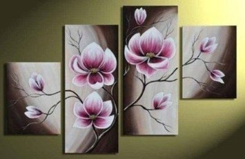 Wieco Art Beautiful Purple Flowers Oil Paintings on Canvas Wall Art for Bedroom Home Decorations Modern 100% Hand Painted 4 Panels Contemporary Stretched and Framed Abstract Floral Artwork -