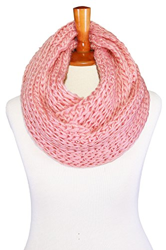 Basico Unisex Adult Junior Winter Knitted Infinity Circle Loop Scarf Chunky Cable Waffle- Various Colors (Waffle17 Pink) (Pink Knitted Scarf)