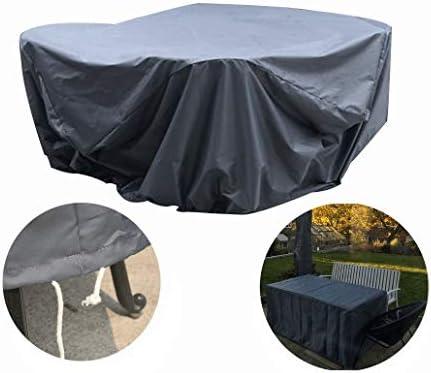 AWSAD ダストカバー 円形 テーブルカバー 保護カバー アウトドア パティオ 保護 防水 ターポリン、25サイズ (Color : Gray, Size : 220x90cm)