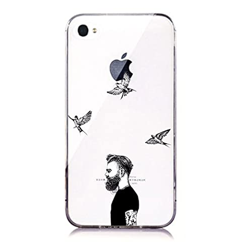 iPhone 4 4S Case,[Cartoon Series]Black and White Theme - Cool Men and Birds Pattern Custom Clear Transparent Case Cover for iPhone 4 (Iphone4 Tough Cases)