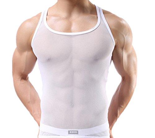 Q&Y Men's Mesh O-neck Gym Muscle See-through Tank Top Vest White L