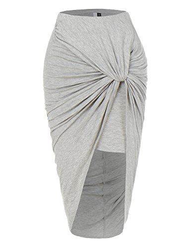 - RK RUBY KARAT Womens Asymmetrical Banded Waist Wrap Cut Out Hi Low Maxi Skirt, HeatherGray, Small