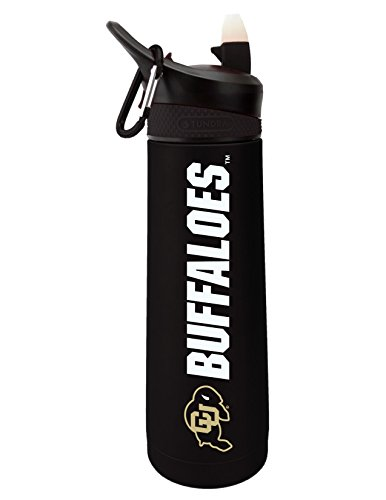 Fanatic Group University of Colorado Dual Walled Stainless Steel Sports Bottle, Design 2 - Black by Fanatic Group (Image #1)