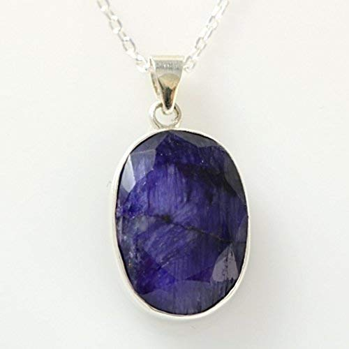 (Sterling Silver Genuine Oval Faceted Blue Sapphire Handmade Birthstone Pendant 16+2'' Chain)