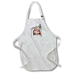 Dooni Designs Random Toons - Silly Superhero Super Pig Cartoon - Medium Length Apron with Pouch Pockets 22w x 24l (apr_104388_2)