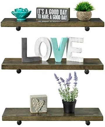 Rustic Farmhouse 3 Tier Wood Shelves with Black Pipe Brackets Walnut, 3 Tier