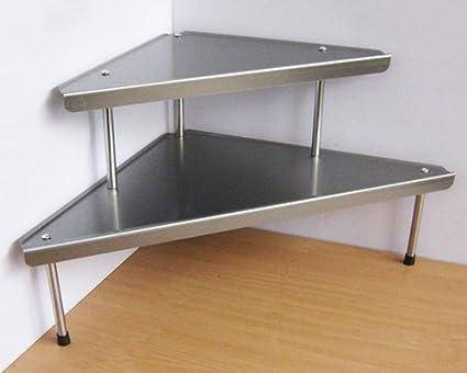 Estantería esquinera, estantería de cocina triangular, 2 estantes, acero inoxidable