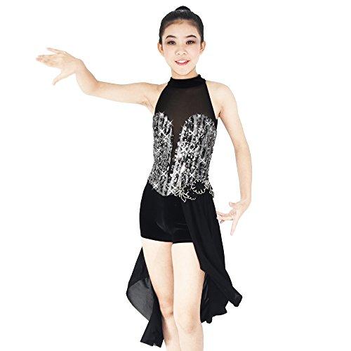 [MiDee Contemporary Costume Morden Lyrical Dance Dress Mock Neck Deep V 3/4 Skirt (SA, Black)] (Biketard Costume)