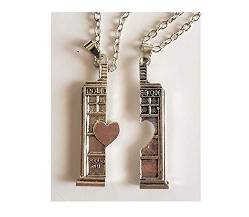 Doctor Who Tardis Time Machine 2 Piece Best Friends Friendship Pendant Necklaces