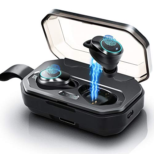 [2019 Update Version] Wireless Earbuds, Jurgen K Latest Bluetooth 5.0 True Wireless Earbuds IPX7 Waterproof Stereo Sound in-Ear Sports Wireless Headphones with 3000mAH Charging Case