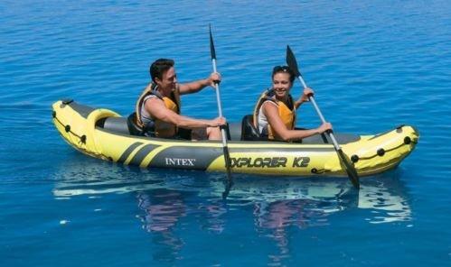 Intex Explorer K2 Yellow 2 Person Inflatable Kayak with Aluminum Oars & Air Pump by Intex