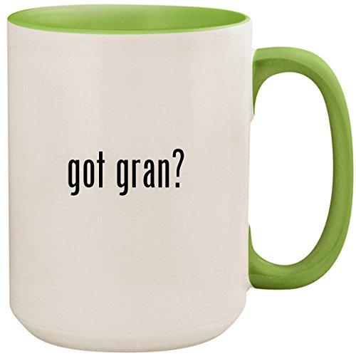 Gran Light Canaria Three - got gran? - 15oz Ceramic Colored Inside and Handle Coffee Mug Cup, Light Green