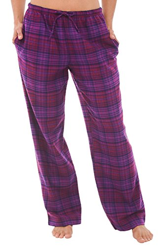Womens Flannel Pajama Pants, Long Cotton Pj Bottoms, 2X Purple and Pink Plaid (A0703P742X) (Dark Plaid Flannel Pants)