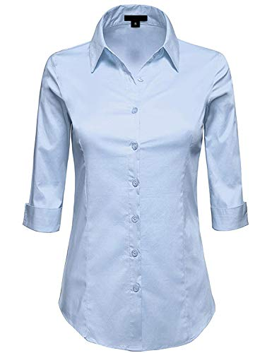 MAYSIX APPAREL Plus Size 3/4 Sleeve Stretchy Button Down Collar Office Formal Shirt Blouse For Women DUSTYBLUE -