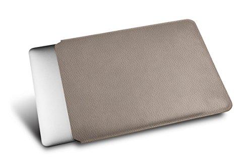 Lucrin - Schutzhülle für MacBook 12 Zoll - Mausgrau - Leder genarbt Hellbraun tJn13Qmha
