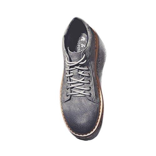 Jiuyue Para Caballeros Con Cuero Martin Gris shoes Cordones De Zapatos Botas 2018 Hombre Genuino Botines nxTAqnwZ