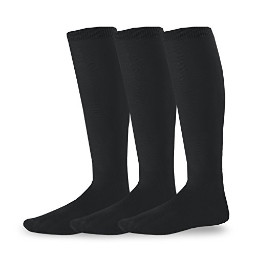 Soxnet Soccer Sports Team 3-pair Cushion Socks-Black, Large (10-13)