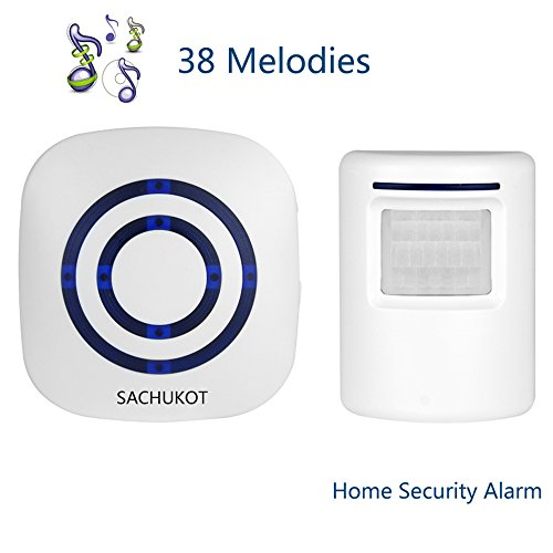 Wireless Driveway Alert, SACHUKOT Home Security System Alarm Visitor Door Bell Chime Infrared Motion Sensor Chime with 1 Receiver and 1 Sensor-38 Melodies