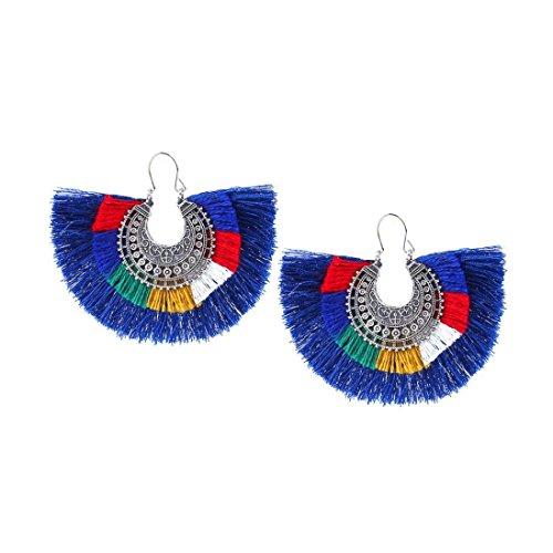 Shaped Tassel (Women's Earrings, ManxiVoo Fan Shaped Tassel Fringe Dangle Drop Ear Stud Earrings for Girls (Blue))