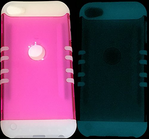 r IPOD TOUCH 5th & 6th GENERATION Case; [GLOW in the DARK] Hybrid Hard & Soft Rubber Dual Layer Armor Skin Cover & Stylus Pen (iPod 5 & iPod 6) (Pink + Glow in the Dark Silicone) ()