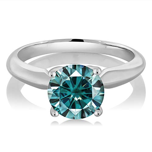 (Gem Stone King 925 Sterling Silver Solitaire Ring Blue Round Created Moissanite 1.90ct DEW (Size 8))