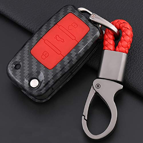 (ontto Carbon Fiber Texture Silicone Remote Key Fob Case Cover with Keychain Key Shell Key Holder Key Protecor Prevent Falling and Sratch Fit for Volkswagen Passat Jetta Golf EOS Beetle 3 Buttons Red)