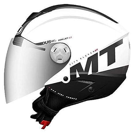 MT - Casco Jet MT City Eleven Smart Blanco Negro con gafa solar interior (XS