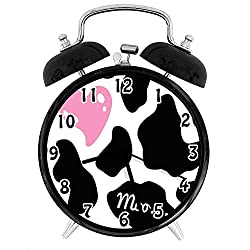 22yiihannz Cow Print Theme,Alarm Clock-Camouflage Hide in with Cute Pink HeShape Moo-Family,Office,Bedroom,Uniquely Decorated Battery Quartz Alarm clock-4inch