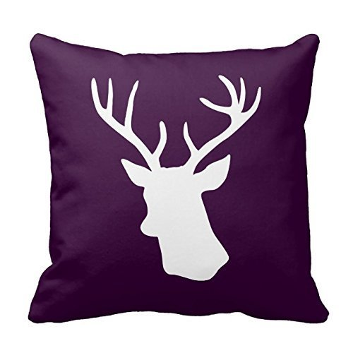 White Deer Head Silhouette - Dark Purple Throw Pillowcases C