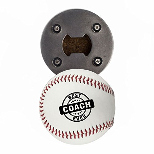 - Baseball Coaches Gift, Bottle Opene made from a real Baseball, Best Coach Ever, Cap Catcher, Fridge Magnet
