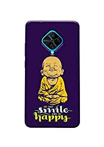 ECFAK Polycarbonate Just Smile and Be Happy Designer Printed Back Cover Compatible for Vivo S1 Pro
