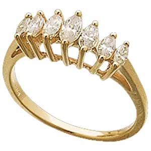 14Kt Yellow Gold Lucky Seven Marquise Diamond Anniversary Ring