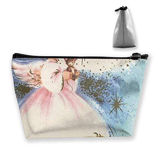 Christmas Angels Holding Animals Multi-functional Trapezoidal Storage Bag Toiletry Bag Zipper Receive -