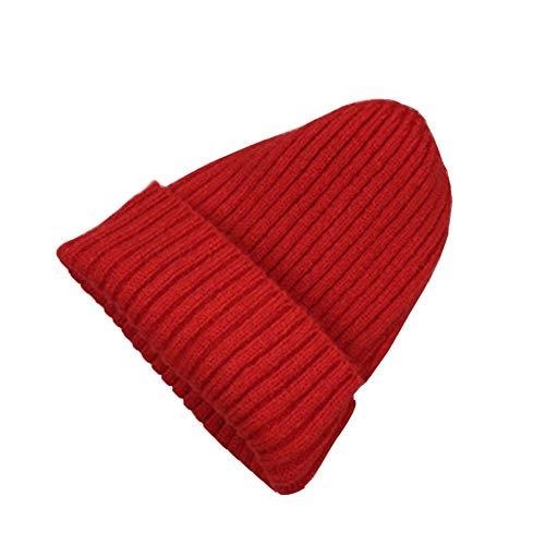シャイニング財団在庫ニットハットファッションウォーム厚手ニット帽冬の帽子 [レッド-1]