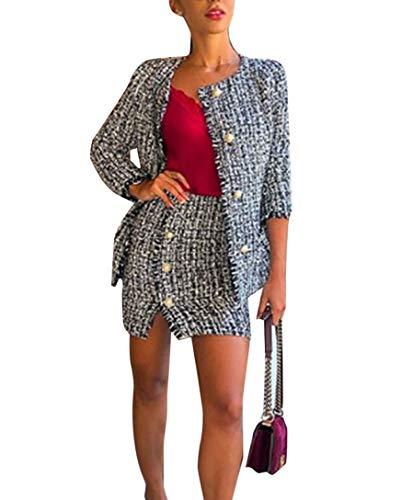 Tweed Skirt Set - Women's Two Piece Winter Skirt Set Tweed Plaid Blazer Jacket Side Split Button Skirt Suit (XL, Jacket)