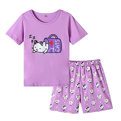 MyFav Young Girls Pajama Cute Cat Pattern Nighty