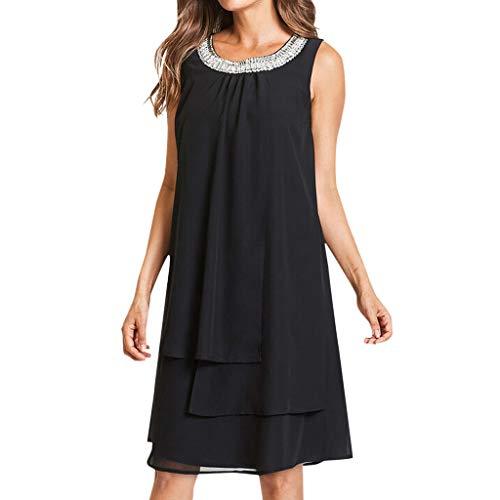 - Women Sequin Dress,Summer Plus Size Sleeveless Swing Party Dress Changeshopping Black
