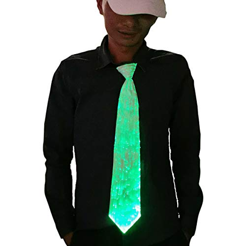 1clienic Light Up Tie LED Necktie 7 Colors Glow in Dark, USB Rechargeable Luminous Novelty Necktie Unisex LED Tie for Fathers Day Party Costume Men Women Boys
