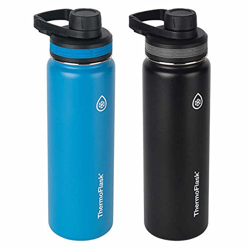 ThermoFlask 24-Ounce Double Wall Vacuum Insulated Stainless Steel Water Bottles 2-Piece by Thermoflask