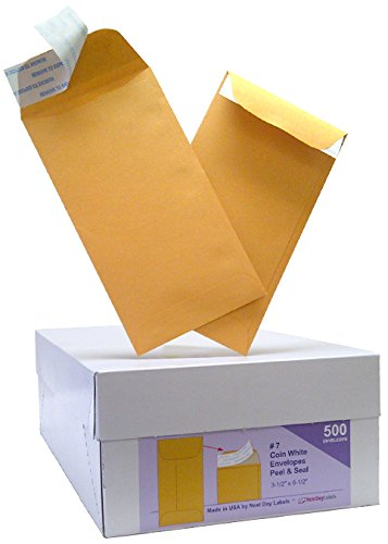 Next Day Labels # 7 Coin Brown Kraft Envelopes, Peel & Seal, for Small Parts, Cash, Box of 500