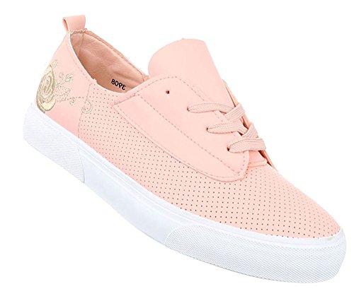 Damen Schuhe Freizeitschuhe Sneakers Turnschuhe Weiß Rosa 39 vjUzY