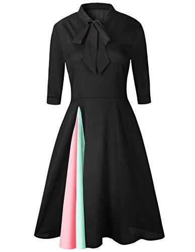 ... Damen Frühling Sommer Kleider Fashion Farbe Spleißen Partykleid Cocktailkleid  Ballkleid Abendkleider Tunikakleid Elegant Hoher Kragen mit ... 145e18c8d5