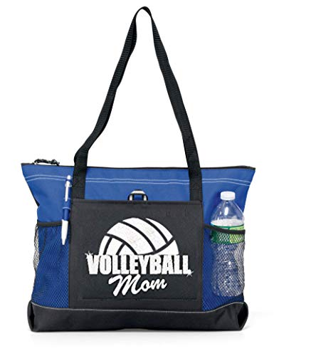 (Volleyball Mom Tote. White Glitter Letters and White Glitter Half Ball on a Large Royal Tote)
