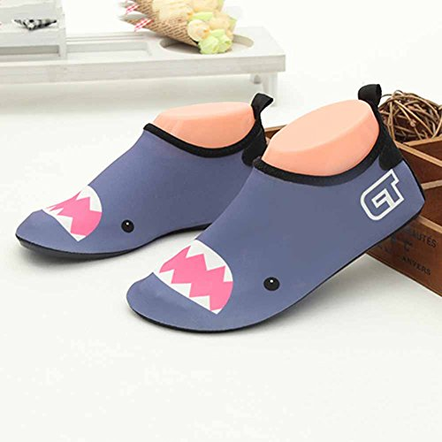 Vine Zapatos de piel al aire libre respirable antideslizante de Aqua Agua de bebé unisex del cabrito por Playa Con Surf Yoga Natación, 21.5cm Shark