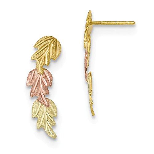 10k Tri Color Black Hills Gold Post Stud Earrings Drop Dangle Flower Gardening Fine Jewelry For Women Gift Set