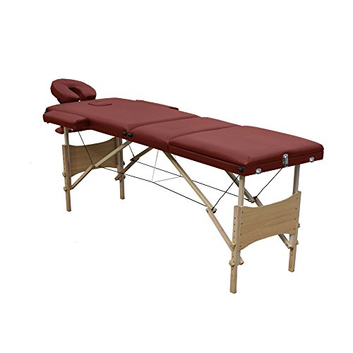 Ireko Cushioned 3 Section Folding Portable Facial Spa Massage Table Bed 82 Inches Burgundy