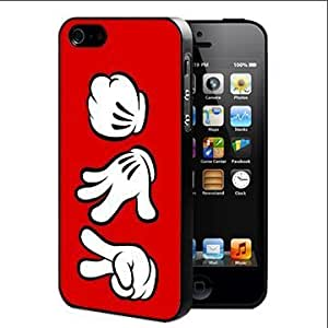 Rock Paper Scissors Cartoon Character Hand Signals in Red and White Hard Snap on Cell Phone Case Cover iPhone 4 4s