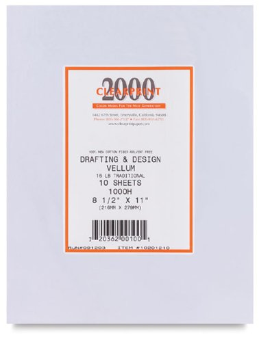 Clearprint 1000H Series 18 x 24 Inches Unprinted Vellum, 10-Sheet Pack (CP10201222) by Clearprint