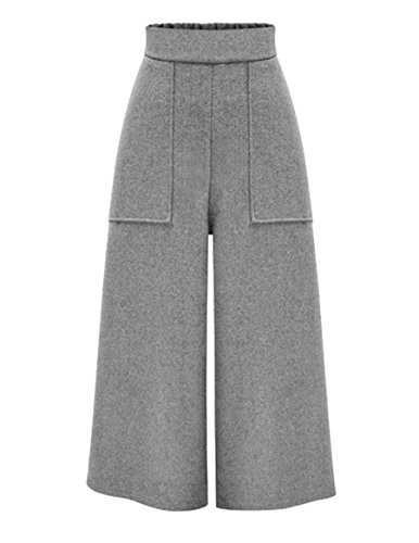 Leg Wide Pants Wool (Ainovile Womens Winter High Waist Wool Blend Wide Leg Palazzo Pants X-Large Grey)