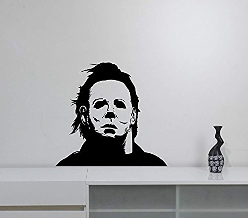 (Michael Myers Wall Sticker Halloween Movie Character Vinyl Decal Friday the 13th Scary Art Decorations for Home Room Bedroom Horror Decor)